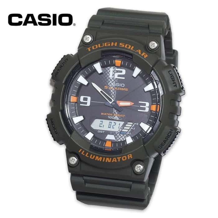 Casio Ana-Digi Solar Watch Black/Orange Face