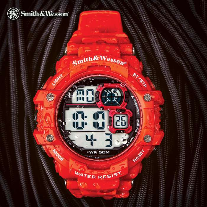 Smith & Wesson Red Tactical Digital Shock Watch - Three Modes Of Operation, EL Backlight, TPR Band, Chronograph, Water-Resistant