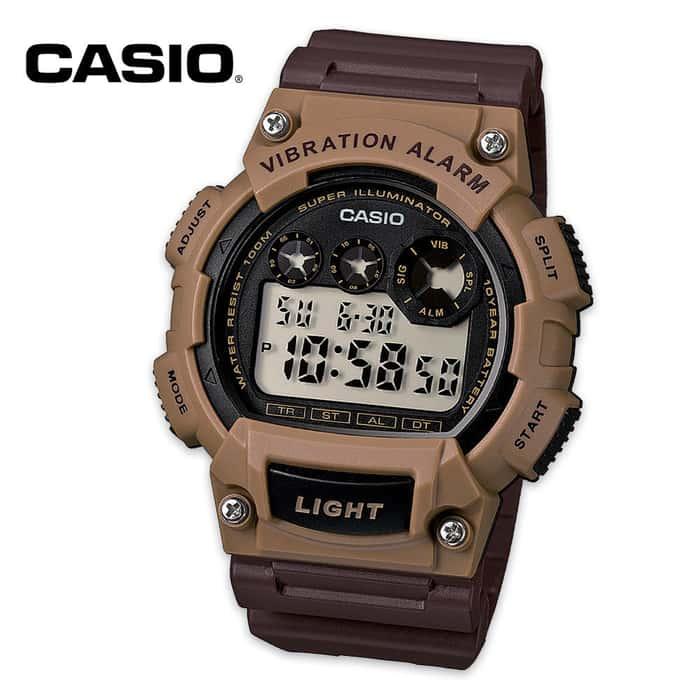Casio Mens Vibration Alarm Watch Brown