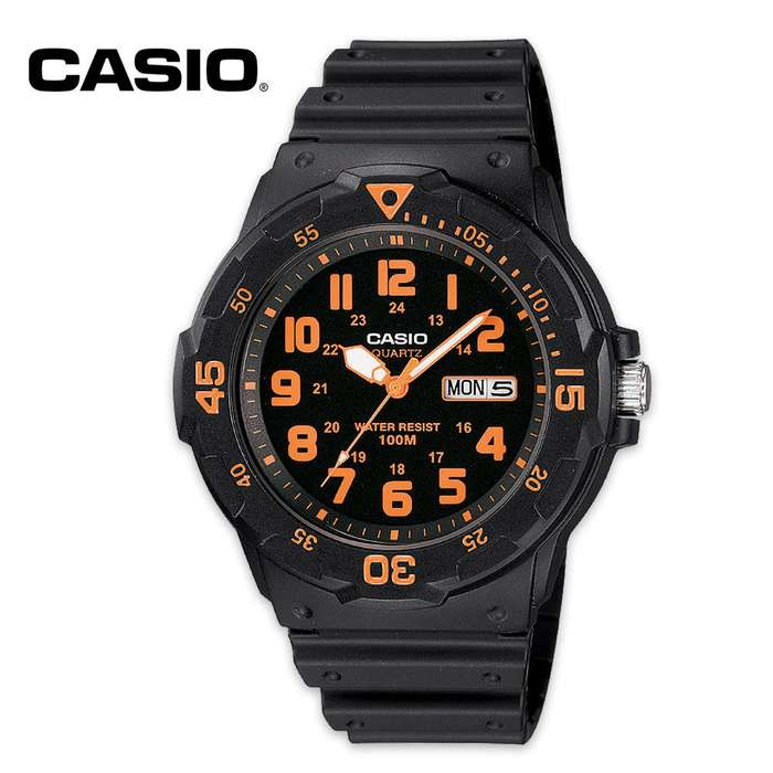 Casio Analog Military Field Watch, Black and Orange