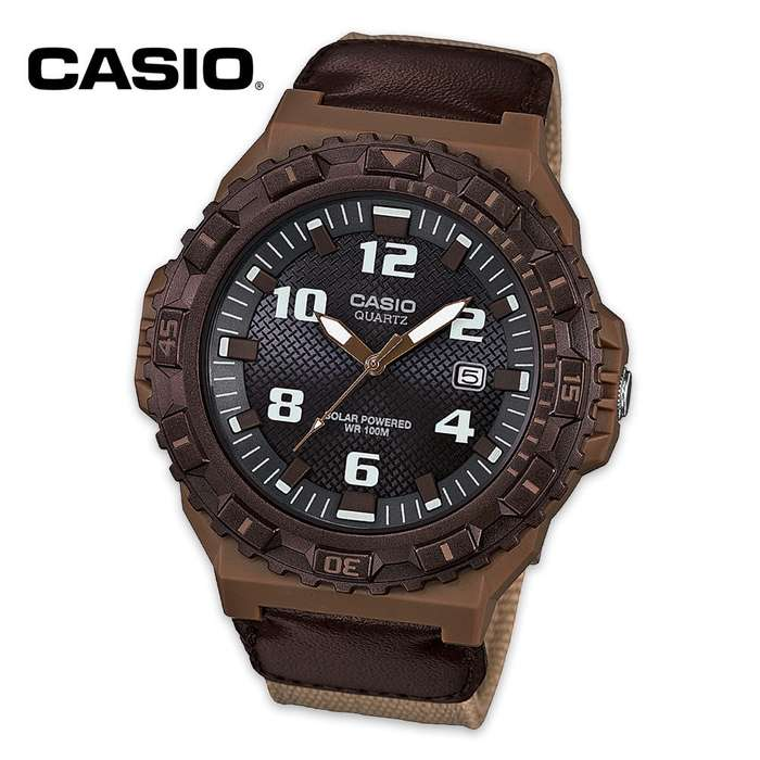 Casio Solar Analog Watch with Brown Cloth Band