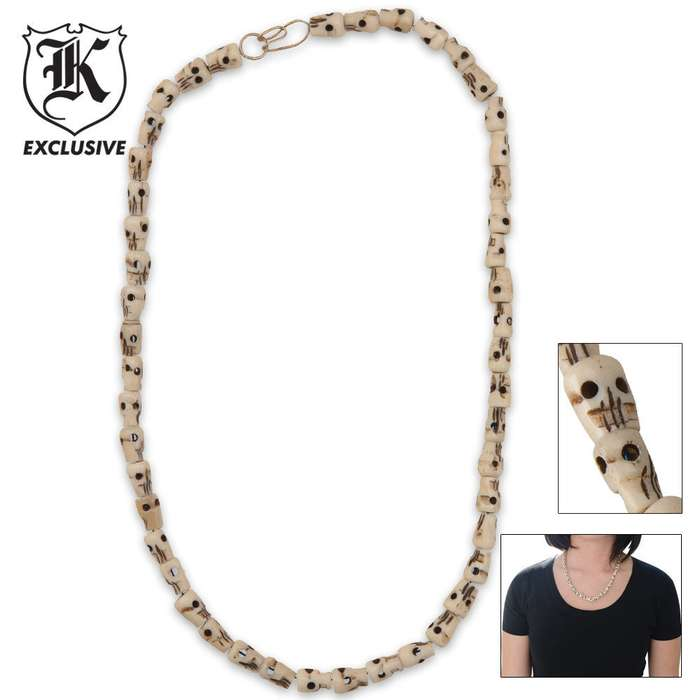 Camel Bone Human Face Necklace 19 Inch