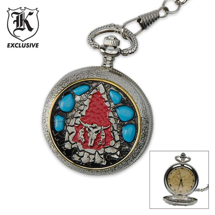 Sitting Bull Pocket Watch & FREE LIGHTER