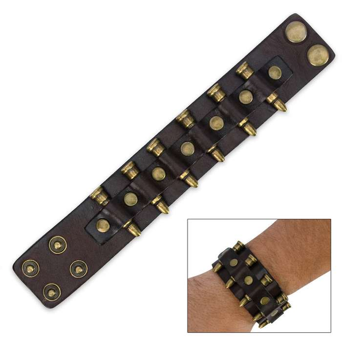 Leather And Brass Bullet Bracelet