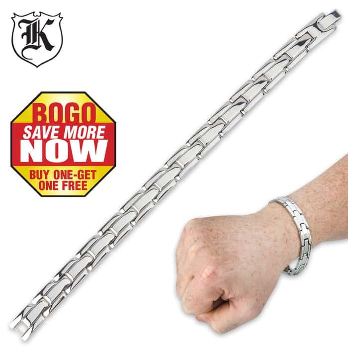 High Polish Stainless Steel 8 Inch Panther Link Bracelet BOGO