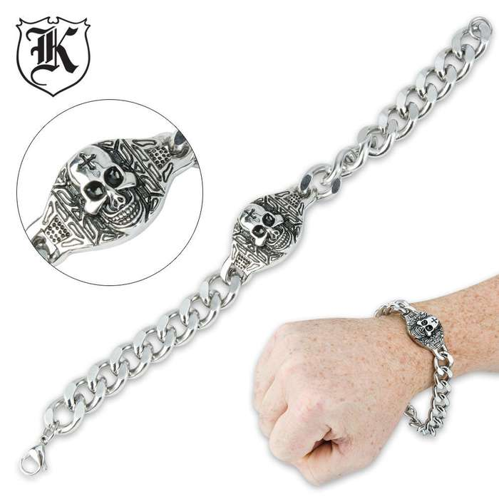 Skull Medallion Bold Stainless Steel Curb Link Bracelet 8.5 Inch