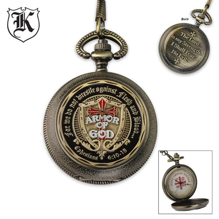 Armor Of God Fear No Evil Pocket Watch With Chain