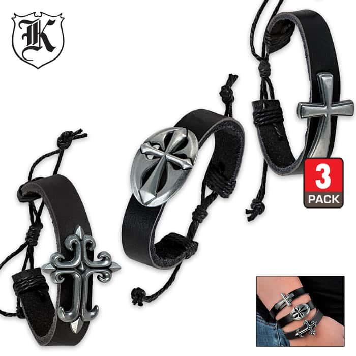 3PC Set Black Leather Bracelet With Celtic Cross