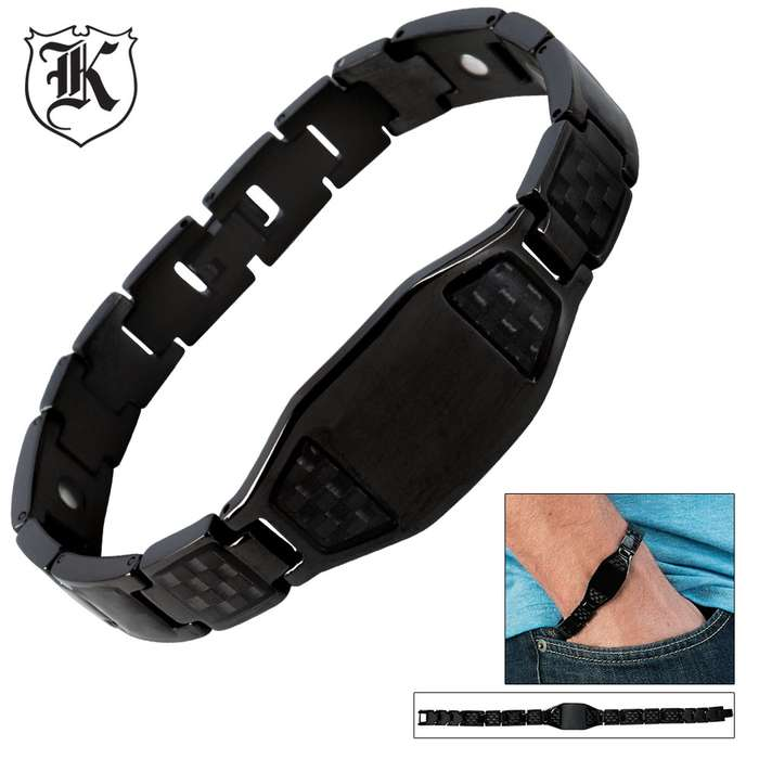 Stainless Steel Black Carbon Fiber Bracelet