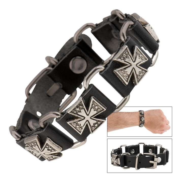 Cow Leather And Alloy Cross Bracelet
