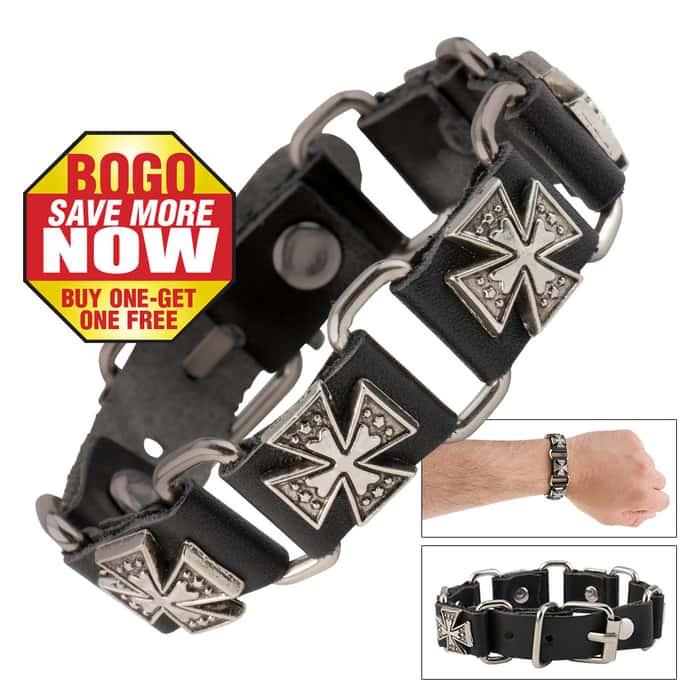 Cow Leather And Alloy Cross Bracelet - BOGO