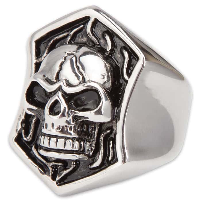 Stainless Steel Skull Plate Ring