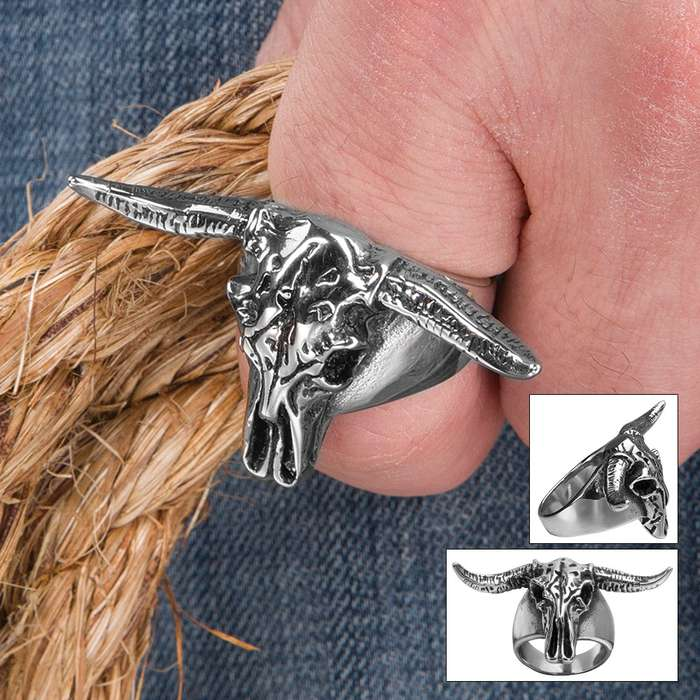 Longhorn Bull Skull Stainless Steel Ring - Sizes 8-11