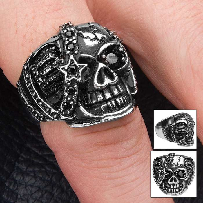 Skull with Black Jeweled Eyepatch Stainless Steel Ring - Sizes 8-11