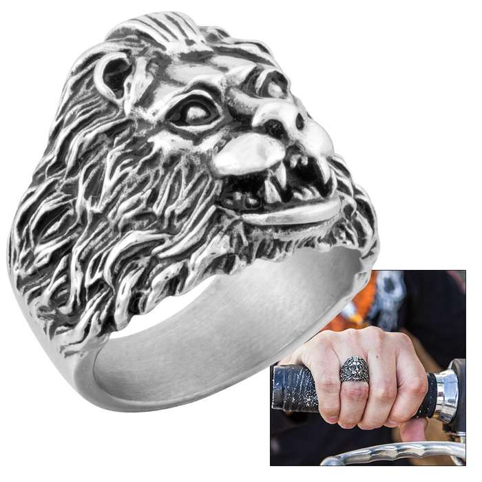 """The Shah"" - Lion Head Men's Stainless Steel Ring - Sizes 9-12"