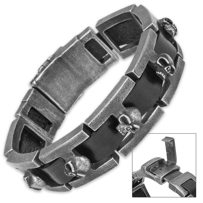 Iron Wrath - Matte Gray Steel Skulls on Black Leather Band Bracelet