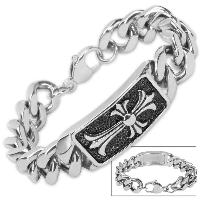 Cross and Angled Chain Stainless Steel Bracelet