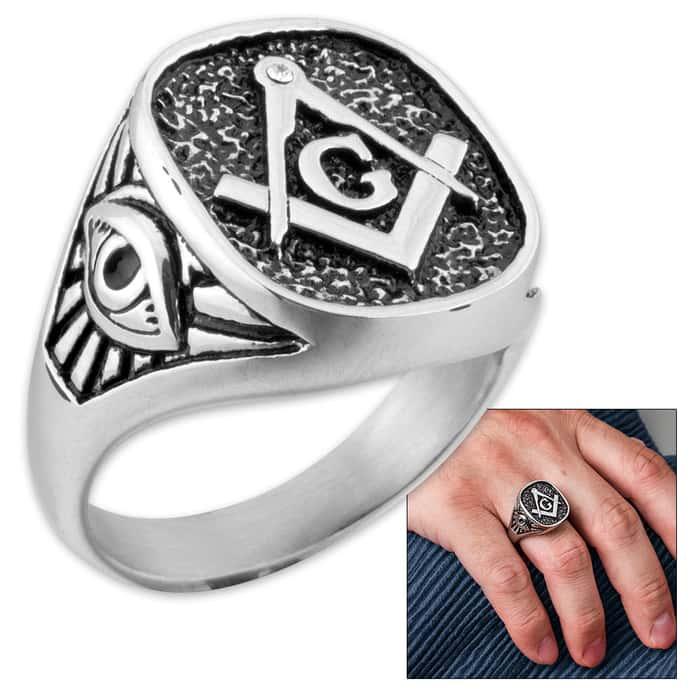 Masonic / Freemason Men's Stainless Steel Ring - Sizes 9-12