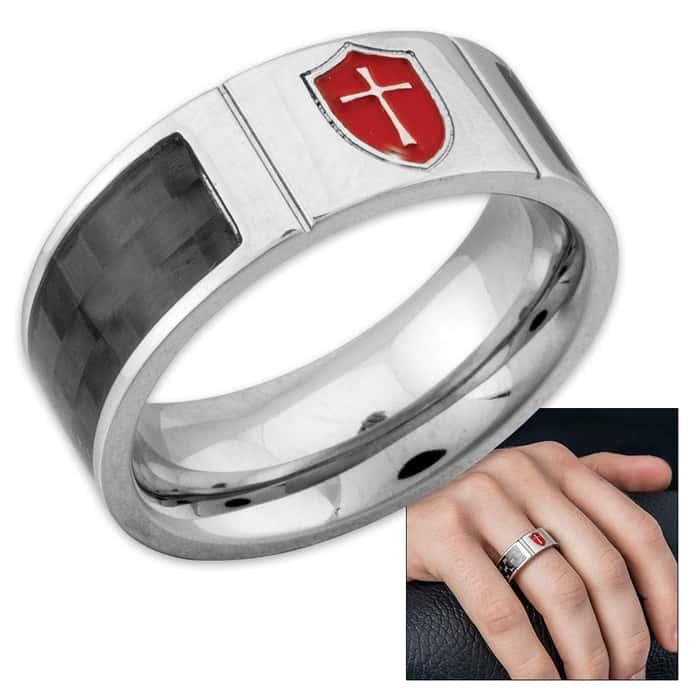 Armor of God Stainless Steel / Carbon Fiber Ring