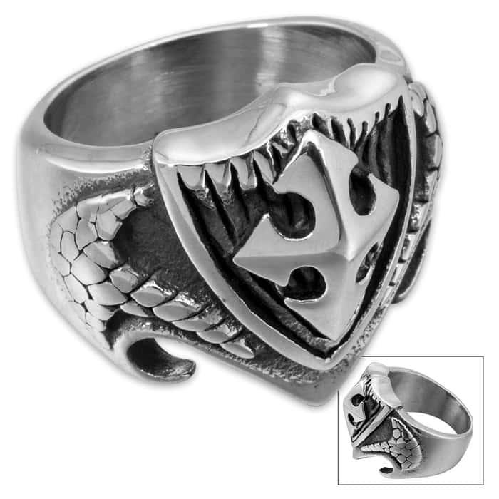 Shield Cross Stainless Steel Men's Ring