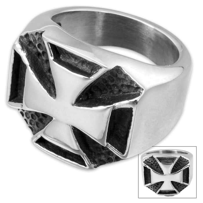 Chopper Cross Stainless Steel Men's Ring