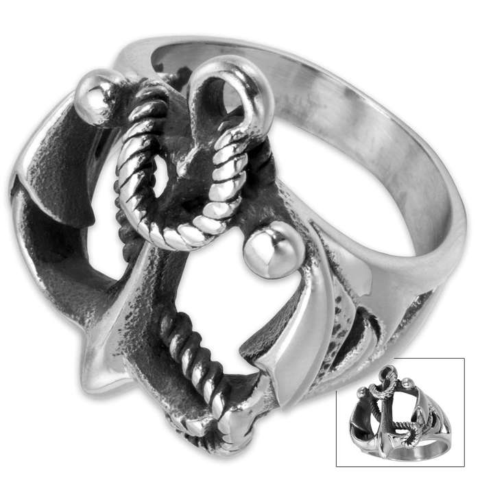 Anchor and Rope Stainless Steel Men's Ring