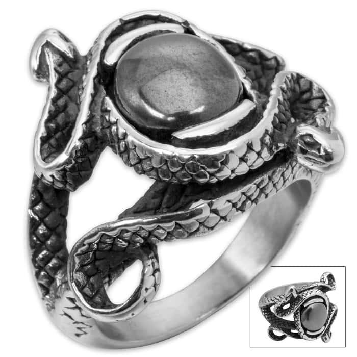 Black Serpent Stainless Steel Men's Ring