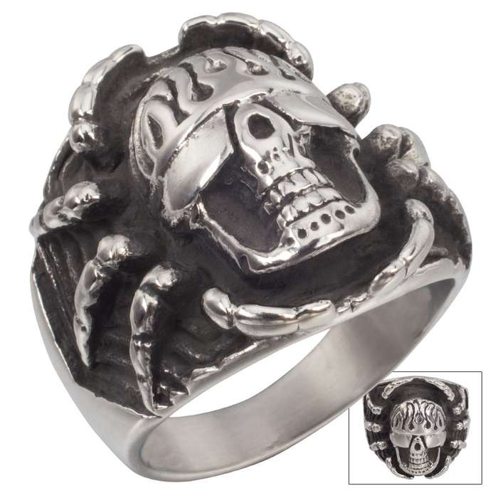 Black Widow Biker Stainless Steel Men's Ring