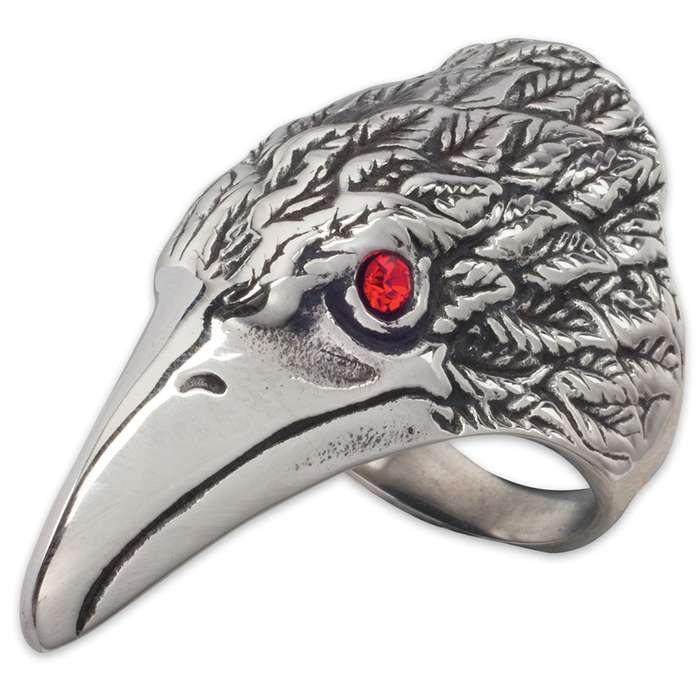 Red Eye Raven Stainless Steel Men's Ring