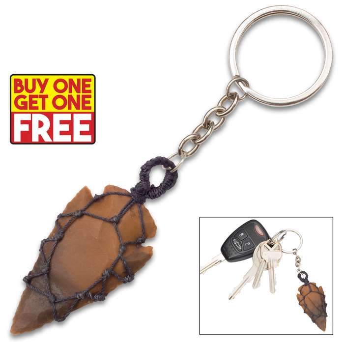 Wrap Cord Agate Arrowhead Necklace And Keychain - BOGO
