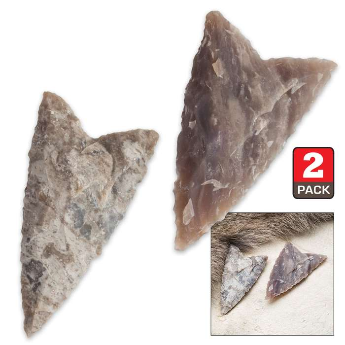 Clovis Large Agate Arrowhead - 2 Pack