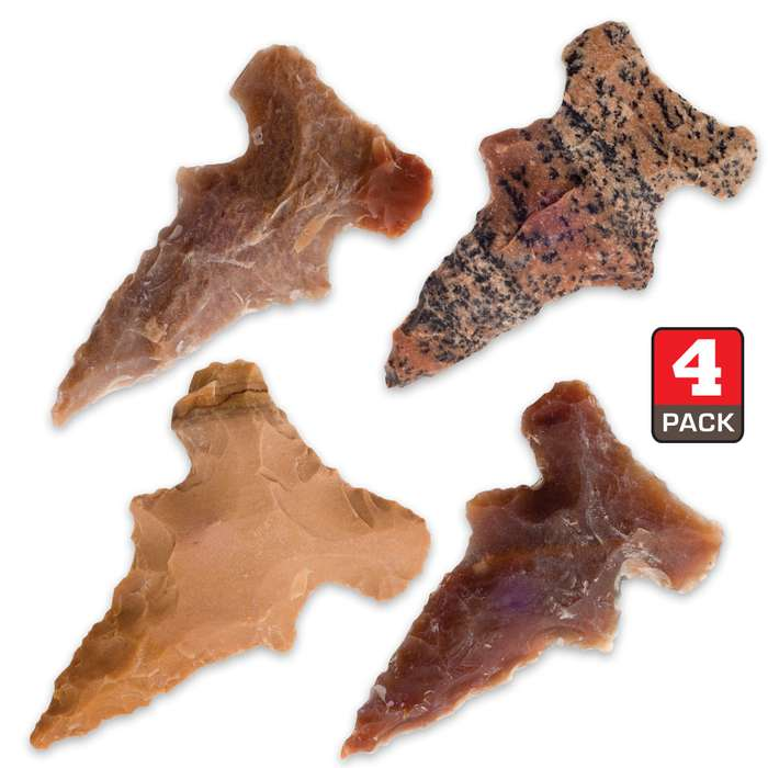 Side-Notched Native Arrowheads - Four-Pack