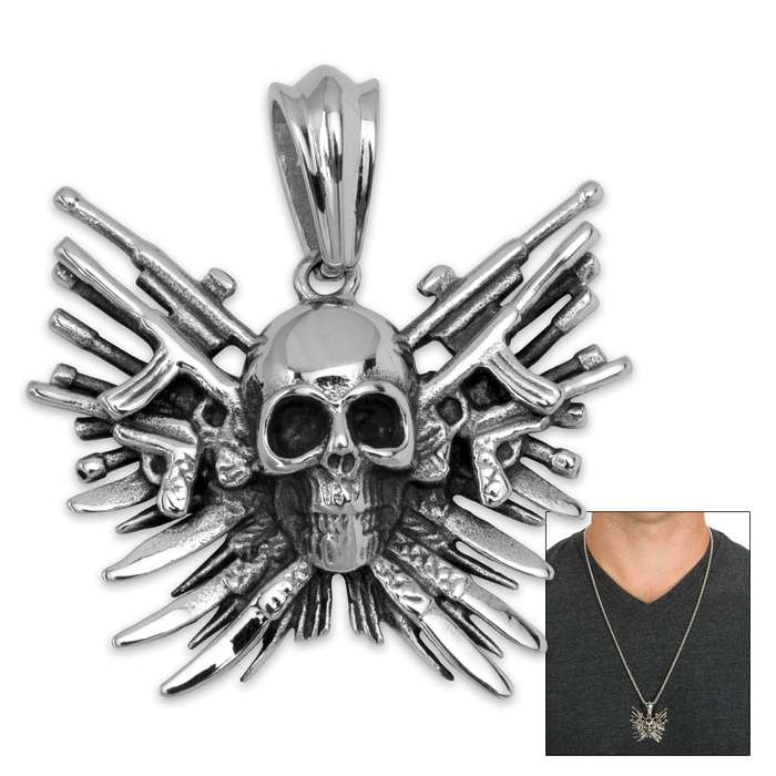 Skull Arsenal Pendant on Chain - Stainless Steel Necklace