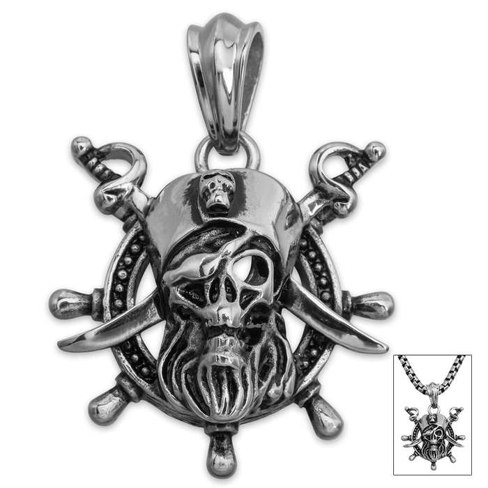 Pirate Pendant on Chain - Stainless Steel Necklace