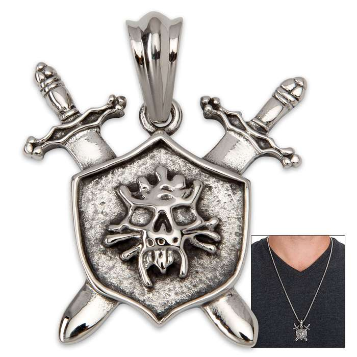 Ghoulish Skull Shield with Intersecting Swords Pendant on Classic Chain  - Stainless Steel Necklace