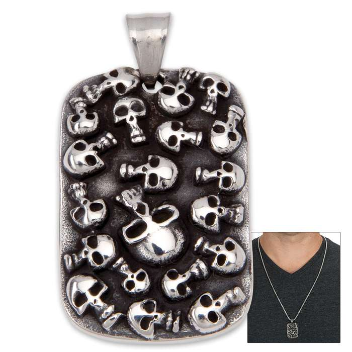 Stainless Steel Dogtag with Raised Skull Design on Ball Chain