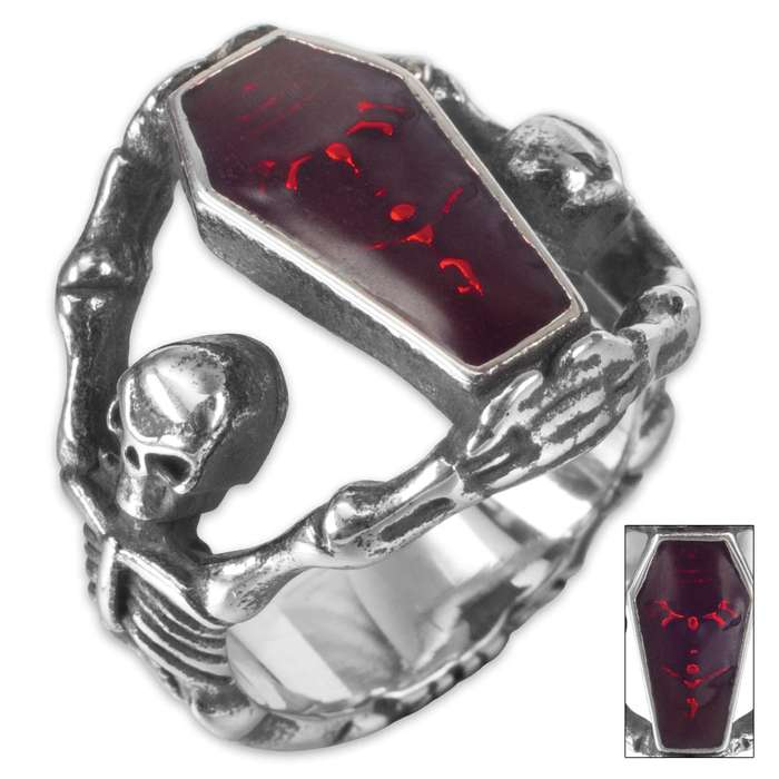 Twisted Roots Blood Coffin Skeleton Ring
