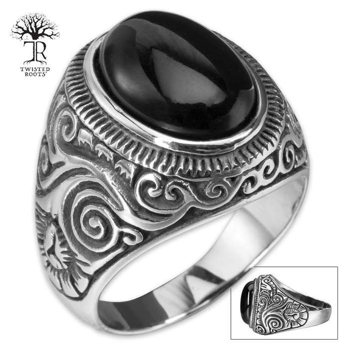 Twisted Roots Black Stone Class Ring