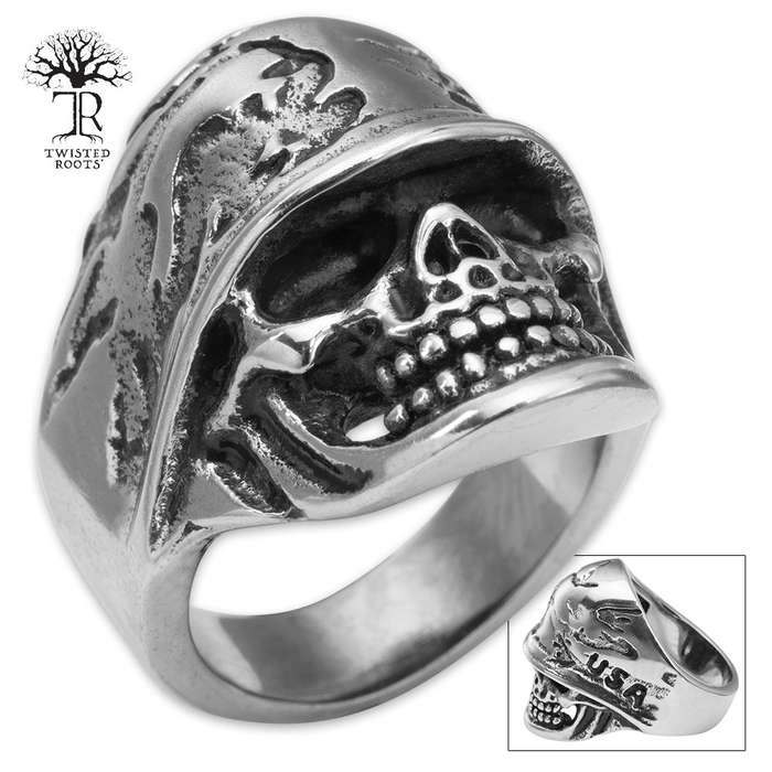 Twisted Roots American Biker Stainless Steel Men's Ring