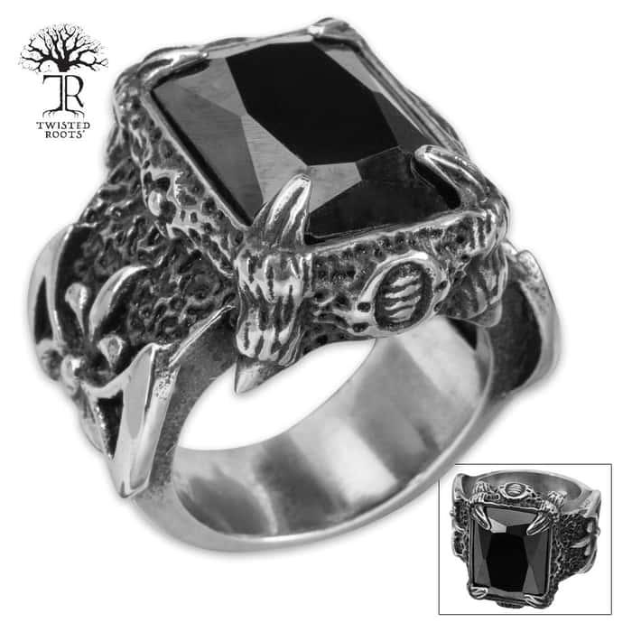 Twisted Roots Black Stone Talon Ring