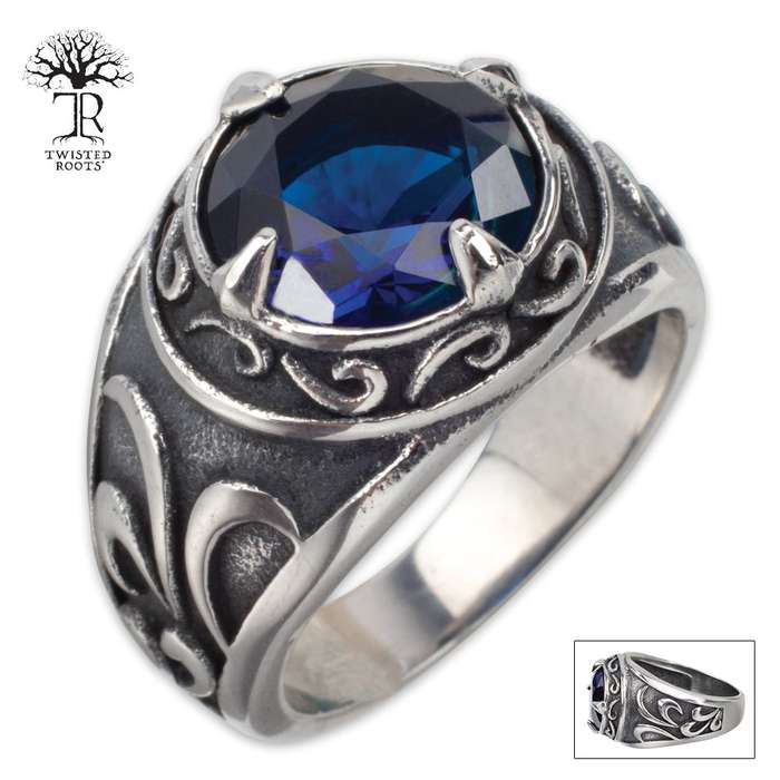 Twisted Roots Calypso Stainless Steel Men's Ring with Blue Cut Stone