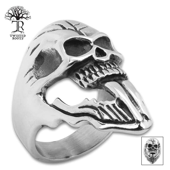 Twisted Roots Forked Tongue Skull Ring