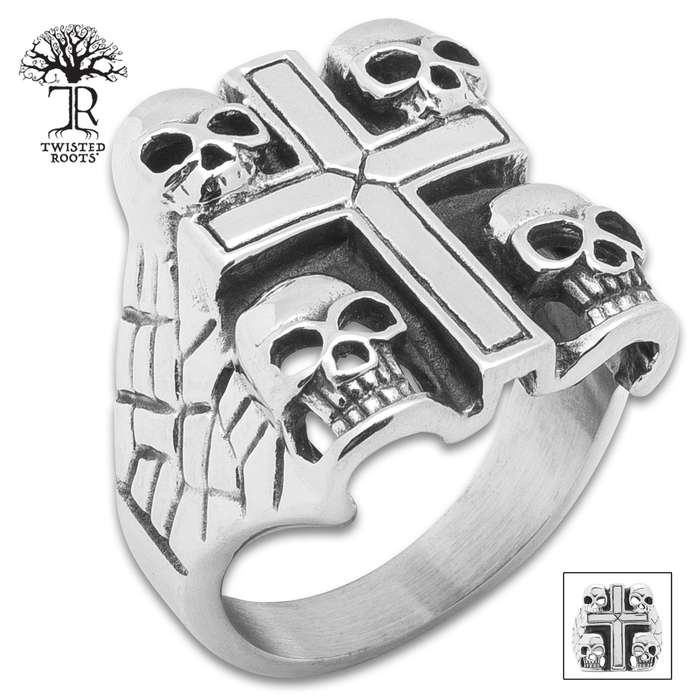 Twisted Roots Skull Guard Cross Ring