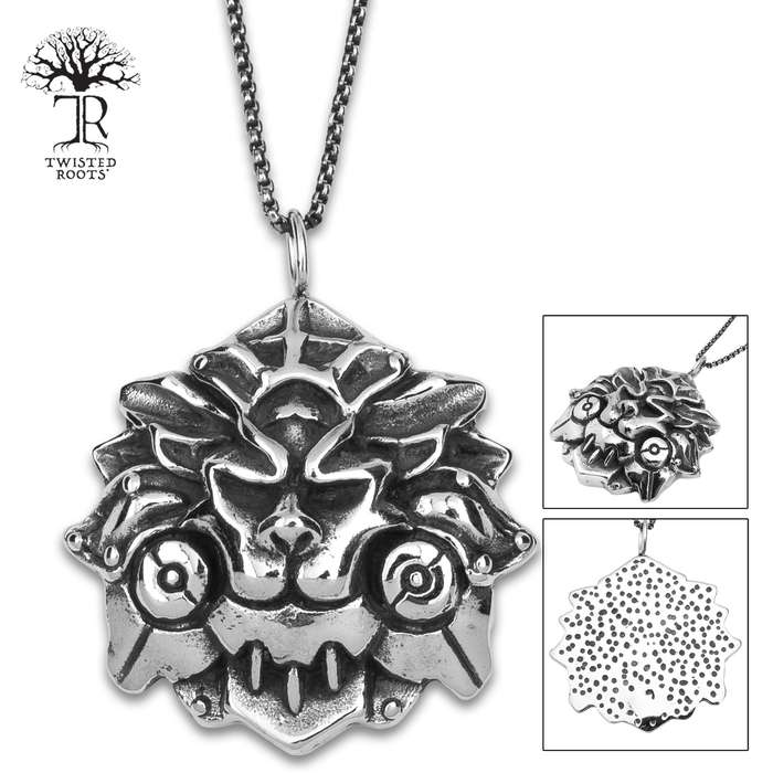 Lion Face Pendant On Chain - Stainless Steel Necklace