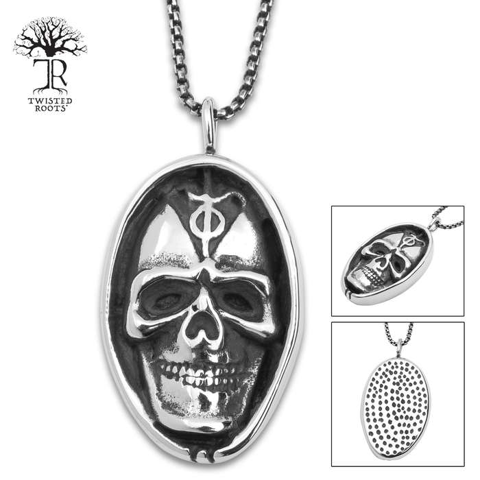 Skull Nut Pendant On Chain - Stainless Steel Necklace