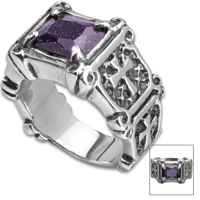 Blue Jeweled Faith Defender Ring - Stainless Steel Construction, Faux Jewel, Remarkable Detail - Available In Sizes 9-12