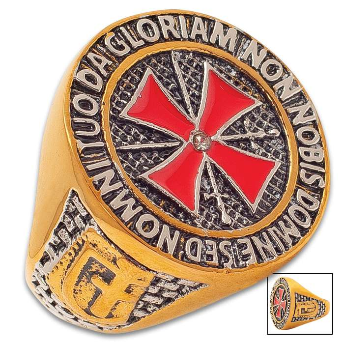 Red And Gold Crusader Ring - Stainless Steel Construction, Red Enamel, Lifetime Of Wear, Highly Detailed, Everyday Wear