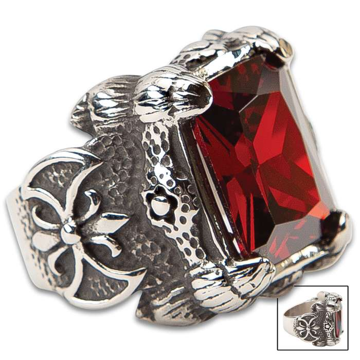 Red Square-Cut Stone Ring - Faux Ruby, Stainless Steel Construction, Lifetime Of Wear, Highly Detailed, Everyday Wear