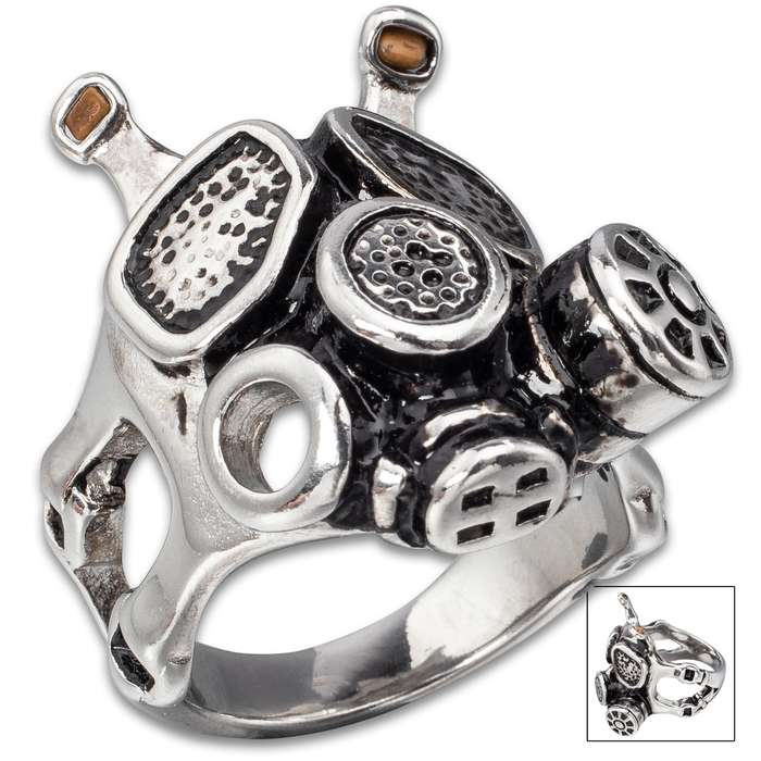 Apocalyptic Gas Mask Ring - Stainless Steel Construction, Lifetime Of Wear, Highly Detailed, High-Quality, Everyday Wear