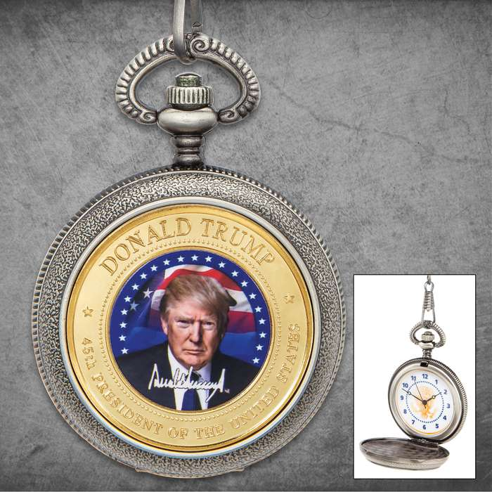 President Trump Pocket Watch And Chain - Metal Alloy Construction, Antique Finish, Full Color Portrait - Diameter 1 3/4""